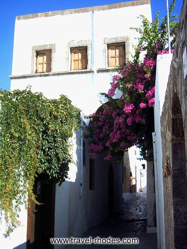 A house over the small pathway in Lindos town, Rhodes
